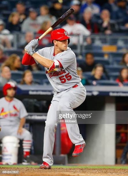 Stephen Piscotty of the St Louis Cardinals in action against the New York Yankees at Yankee Stadium on April 14 2017 in the Bronx borough of New York...