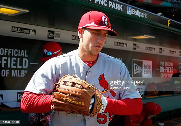 Stephen Piscotty of the St Louis Cardinals in action during opening day against the Pittsburgh Pirates at PNC Park on April 3 2016 in Pittsburgh...