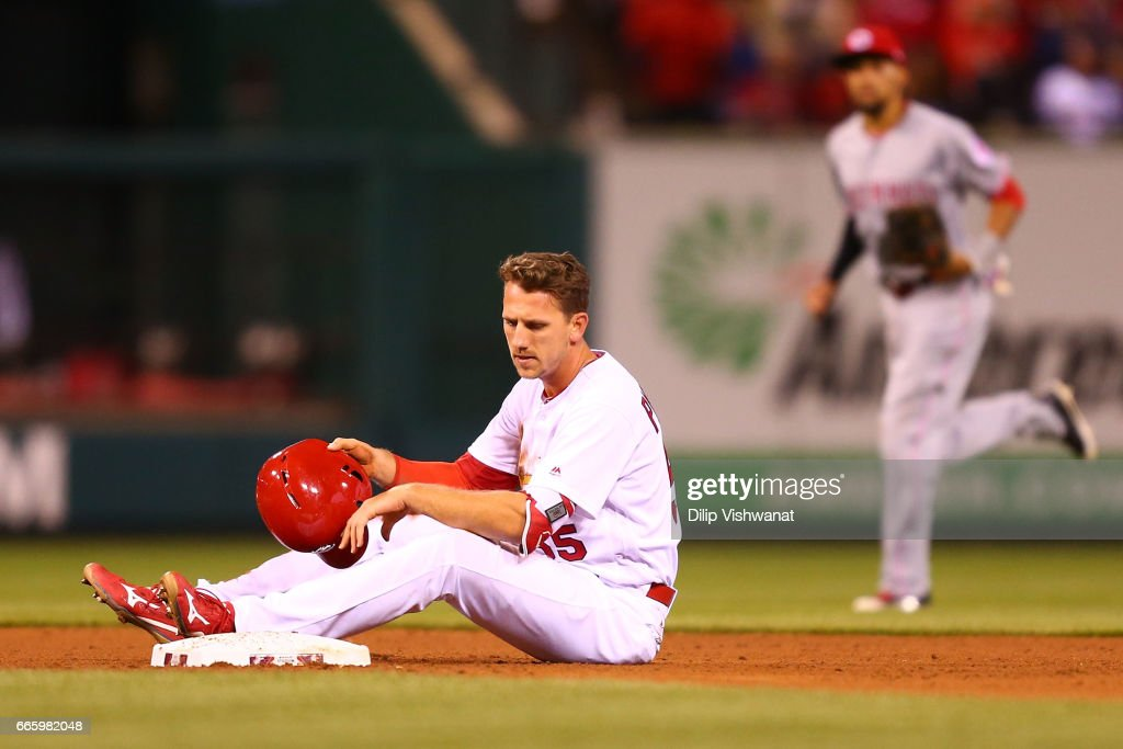 Stephen Piscotty #55 of the St. Louis Cardinals reacts after being caught stealing second base against the Cincinnati Reds in the fourth inning at Busch Stadium on April 7, 2017 in St. Louis, Missouri.