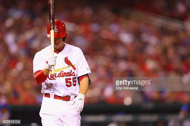 Stephen Piscotty of the St Louis Cardinals reacts after striking out to end the seventh inning against the Chicago Cubs at Busch Stadium on April 19...