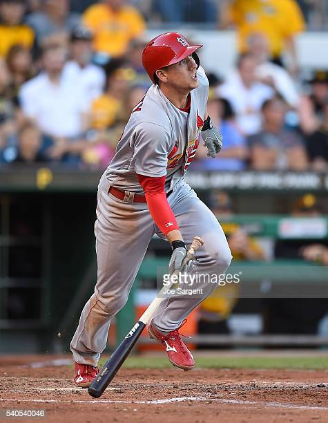 Stephen Piscotty of the St Louis Cardinals runs to first base during the game against the Pittsburgh Pirates on June 12 2016 at PNC Park in...