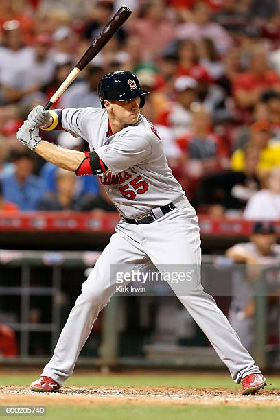 Stephen Piscotty of the St Louis Cardinals takes an at bat during the game against the Cincinnati Reds at Great American Ball Park on September 2...