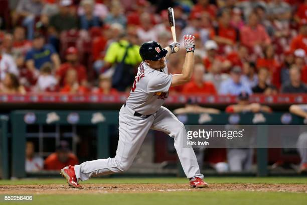 Stephen Piscotty of the St Louis Cardinals takes an at bat during the game against the Cincinnati Reds at Great American Ball Park on September 19...