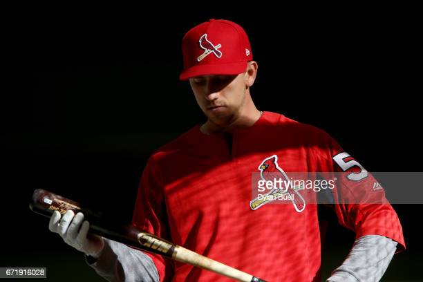 Stephen Piscotty of the St Louis Cardinals takes batting practice before the game against the Milwaukee Brewers at Miller Park on April 22 2017 in...