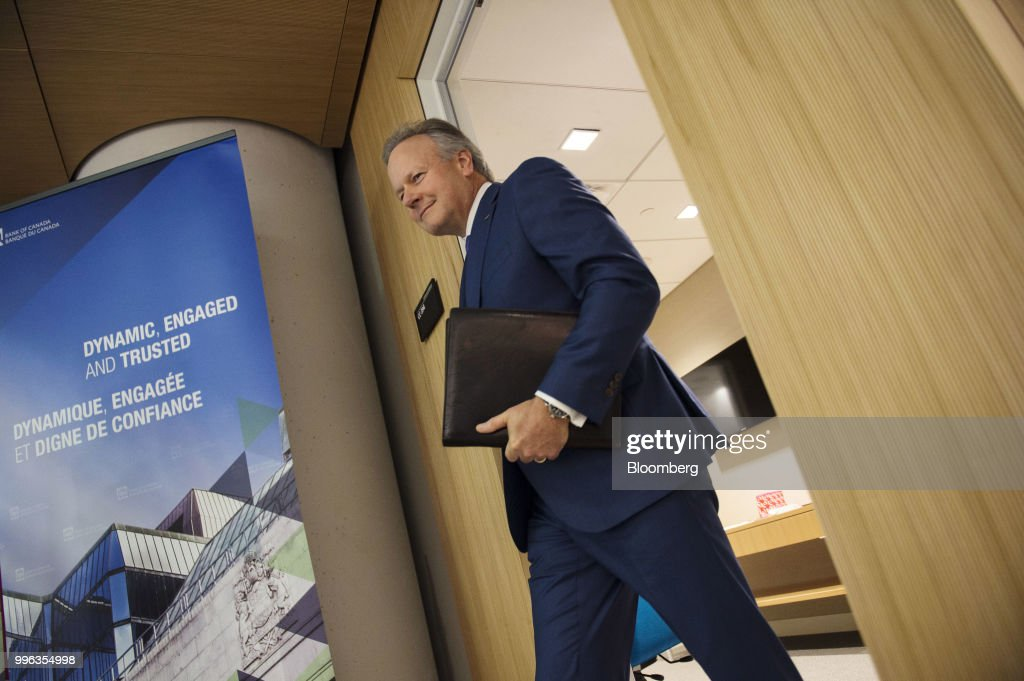 Stephen Poloz, governor of the Bank of Canada, arrives for a press conference in Ottawa, Ontario, Canada, on Wednesday, July 11, 2018. Polozbrushed aside concerns about trade wars and pressed ahead with a fresh interest rate increase as inflation hovers at its highest in seven years. Photographer: James Park/Bloomberg via Getty Images