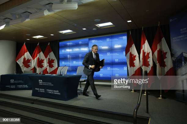 Stephen Poloz governor of the Bank of Canada exits after a press conference in Ottawa Ontario Canada on Wednesday Jan 17 2018 The Bank of...