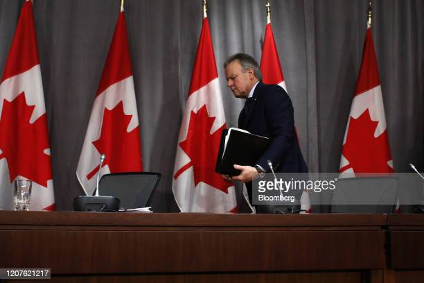 Stephen Poloz governor of the Bank of Canada leaves following a news conference in Ottawa Ontario Canada on Wednesday March 18 2020 Poloz said that...