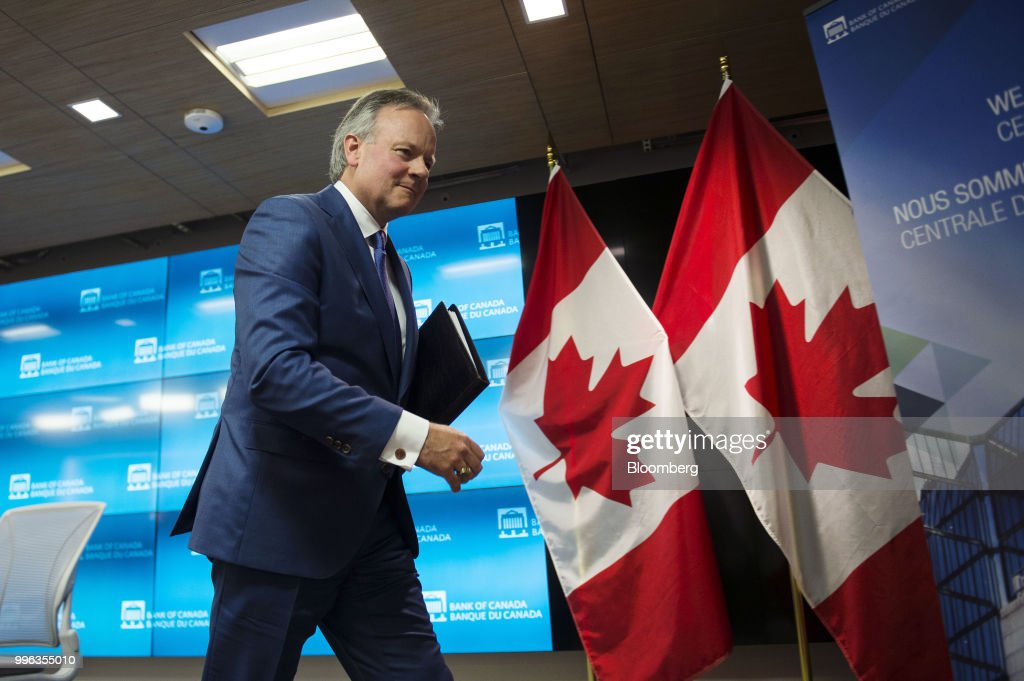 Stephen Poloz, governor of the Bank of Canada, leaves following a press conference in Ottawa, Ontario, Canada, on Wednesday, July 11, 2018. Polozbrushed aside concerns about trade wars and pressed ahead with a fresh interest rate increase as inflation hovers at its highest in seven years. Photographer: James Park/Bloomberg via Getty Images