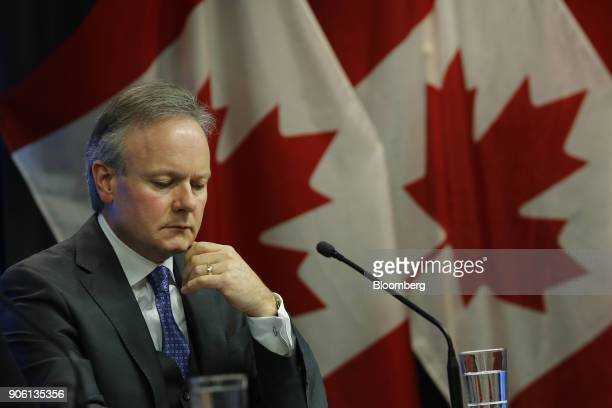 Stephen Poloz governor of the Bank of Canada listens during a press conference in Ottawa Ontario Canada on Wednesday Jan 17 2018 The Bank of...