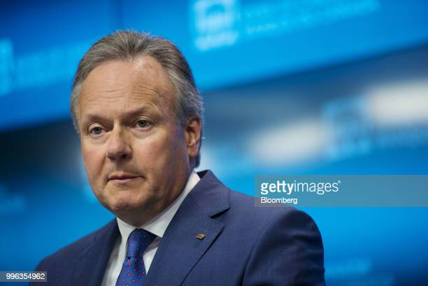 Stephen Poloz governor of the Bank of Canada listens during a press conference in Ottawa Ontario Canada on Wednesday July 11 2018 Polozbrushed aside...