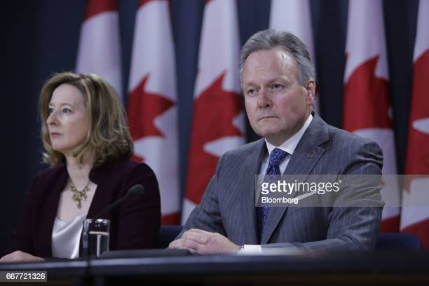 Stephen Poloz governor of the Bank of Canada right and Carolyn Wilkins senior deputy governor at the Bank of Canada listen during a news conference...