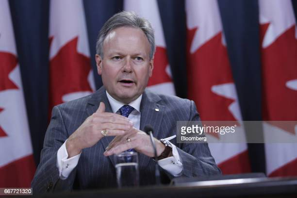 Stephen Poloz governor of the Bank of Canada speaks during a news conference at the National Press Theatre in Ottawa Ontario Canada on Wednesday...