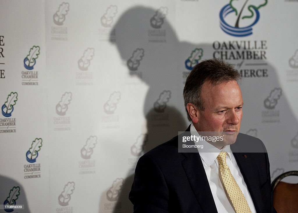 Stephen Poloz, governor of the Bank of Canada, speaks during a press conference after his first speech as governor at the Oakville Chamber of Commerce luncheon in Burlington, Ontario, Canada, on Wednesday, June 19, 2013. Poloz said the nation will need a rebound in business confidence to drive growth in coming years, a process that will require 'stability and patience.' Photographer: Galit Rodan/Bloomberg via Getty Images