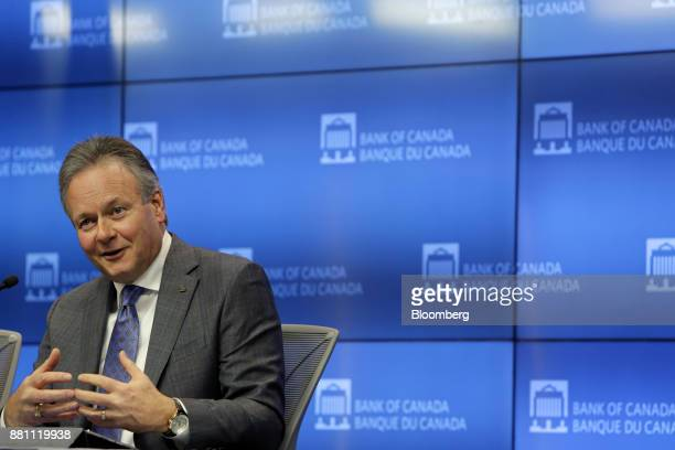 Stephen Poloz governor of the Bank of Canada speaks during a press conference in Ottawa Ontario Canada on Tuesday Nov 28 2017 The Bank of Canada is...