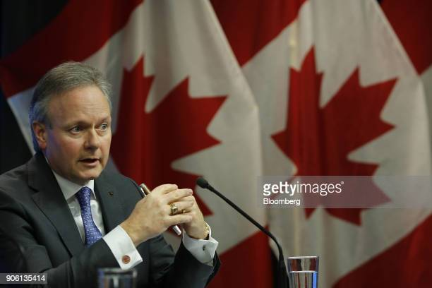 Stephen Poloz governor of the Bank of Canada speaks during a press conference in Ottawa Ontario Canada on Wednesday Jan 17 2018 The Bank of...