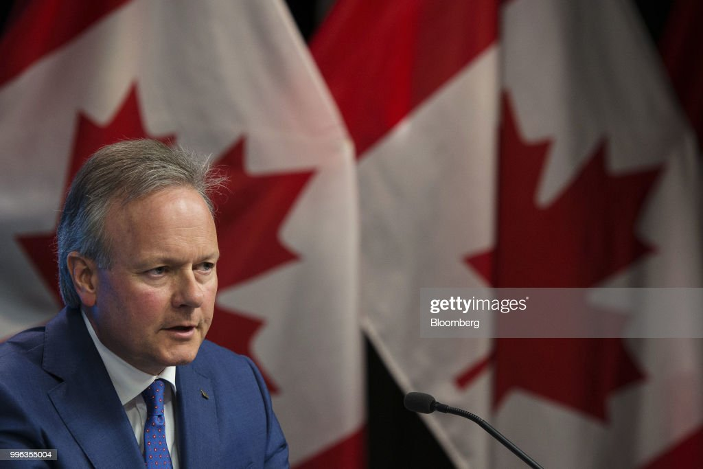 Stephen Poloz, governor of the Bank of Canada, speaks during a press conference in Ottawa, Ontario, Canada, on Wednesday, July 11, 2018. Polozbrushed aside concerns about trade wars and pressed ahead with a fresh interest rate increase as inflation hovers at its highest in seven years. Photographer: James Park/Bloomberg via Getty Images