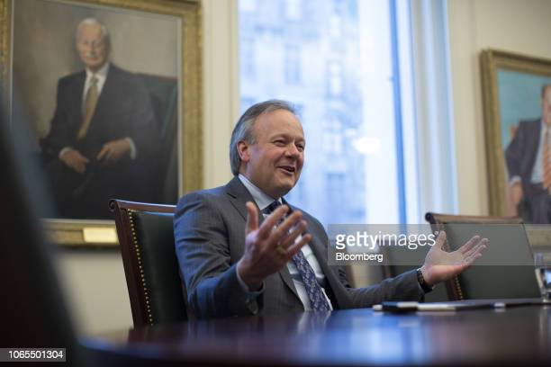 Stephen Poloz governor of the Bank of Canada speaks during an interview in Ottawa Ontario Canada on Monday Nov 26 2018 Considered a sure thing only a...