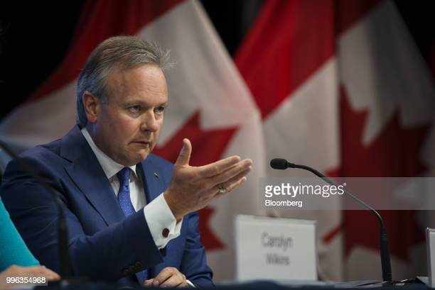 Stephen Poloz governor of the Bank of Canada speaks to the reporters during a press conference in Ottawa Ontario Canada on Wednesday July 11 2018...