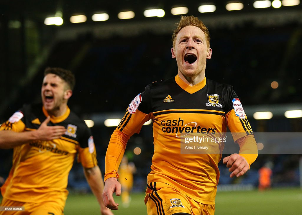Stephen Quinn of Hull City celebrates after scoring the opening goal during the npower Championship match between Burnley and Hull City at Turf Moor on March 11, 2013 in Burnley, England.