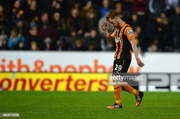Stephen Quinn of Hull City leaves the field after receiving a red card during the Barclays Premier League match between Hull City and Leicester City...