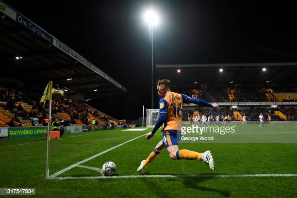 Stephen Quinn of Mansfield Town takes a corner during the Sky Bet League Two match between Mansfield Town and Port Vale at One Call Stadium on...