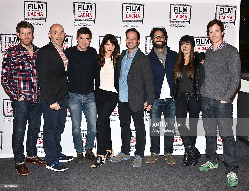 Stephen Rannazzisi, Paul Scheer, Mark Duplass, Katie Aselton, Nick Kroll, Jason Mantzoukas, Nadine Velazquez and Rob Huebel perform a live reading at the Film Independent at LACMA presents Live Read of 'Diner' at Bing Theatre At LACMA on November 20, 2014 in Los Angeles, California.