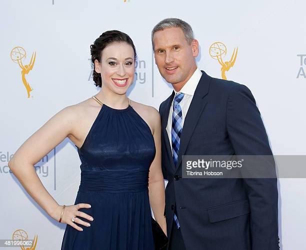 Stephen Rebori and Emily Heller attend the 67th Los Angeles area Emmy Awards at Skirball Cultural Center on July 25 2015 in Los Angeles California