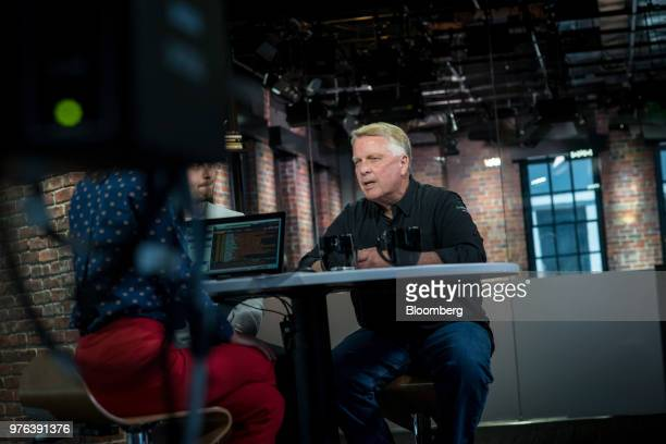 Stephen Rizzone president and chief executive officer of Energous Corp waits before a Bloomberg Technology television interview in San Francisco...
