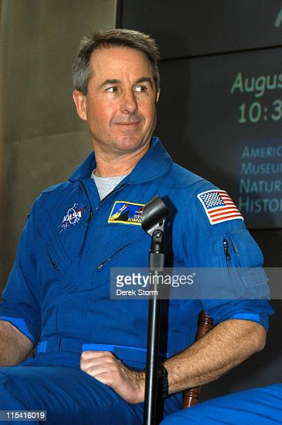 Stephen Robinson of Space Shuttle Discovery speaks during a welcome home event at the Museum of Natural History in New York New York on August 30 2005