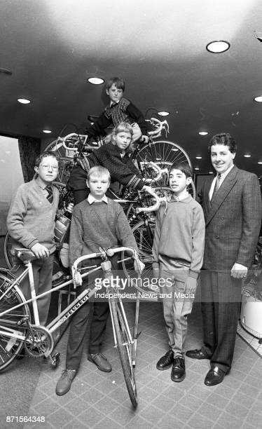 Stephen Roche presenting signed Peugeot bicycles of the five winners of the Bank Of Ireland competition Sean Glynn Mairead Burke Odran Dodd Conor...