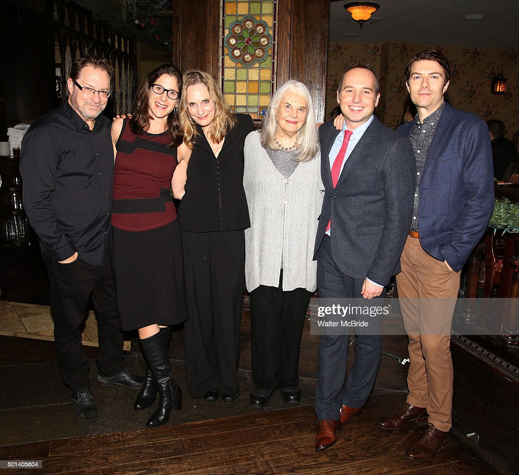 Stephen Root, Anne Kauffman, Lisa Emery, Lois Smith, Jordan Harrison and Noah Bean attend the opening night after party for the Playwrights Horizons New York premiere production of 'Marjorie Prime' at Tir Na Nog Irish Pub & Grill on December 14, 2015 in New York City.