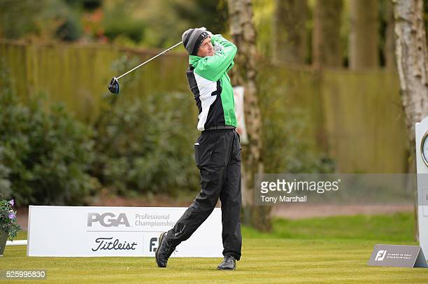 Stephen Russell of Bridgnorth Golf Club plays his first shot on the 1st tee during the PGA Professional Championship Midland Qualifier at Little...