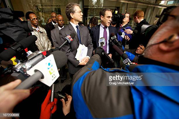 Stephen Sady and Steven Wax federal public defenders for suspected Portland car bomber Mohamed Osman Mohamud speak to the media after a court...
