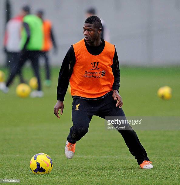 Stephen Sama of Liverpool in action during a training session at Melwood Training Ground on January 31 2014 in Liverpool England