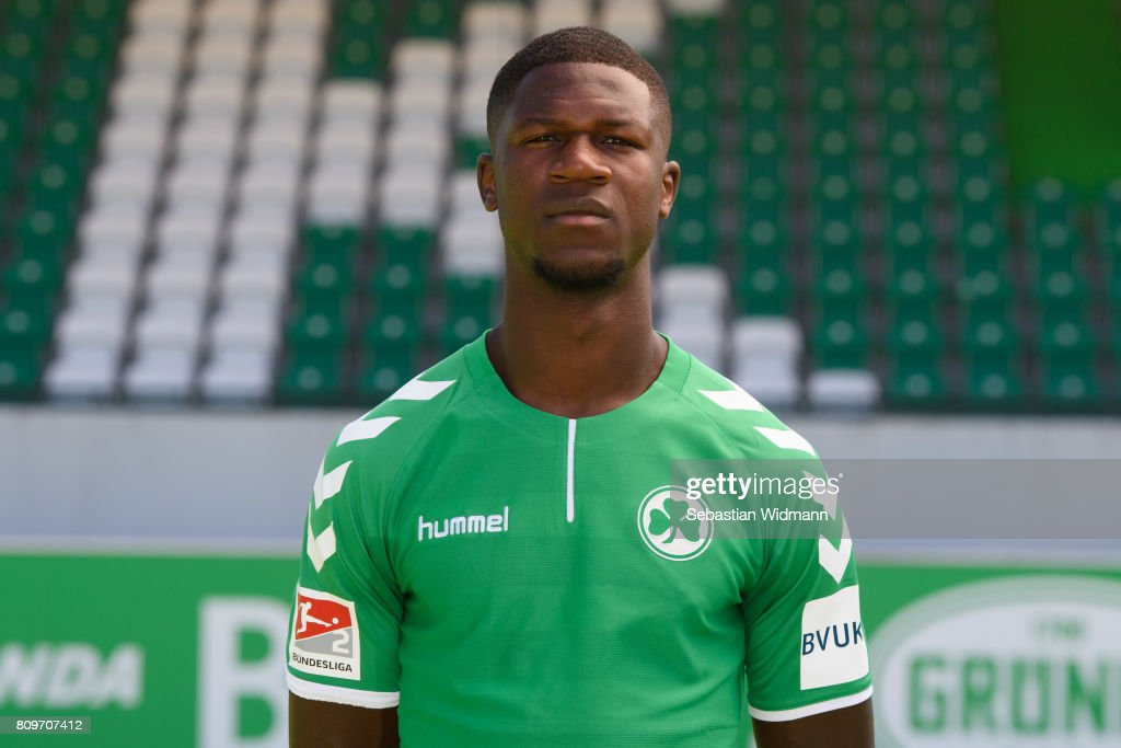 Stephen Sama of SpVgg Greuther Fuerth poses during the team presentation at Sportpark Ronhof on July 6, 2017 in Fuerth, Germany.