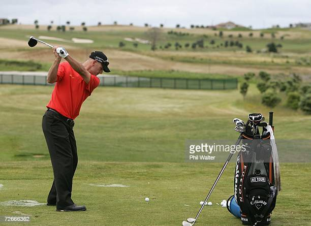 Stephen Scahill of New Zealand practices on the driving range during the New Zealand Open Pro Am at the Gulf Harbour Country Club on the Whangaparoa...