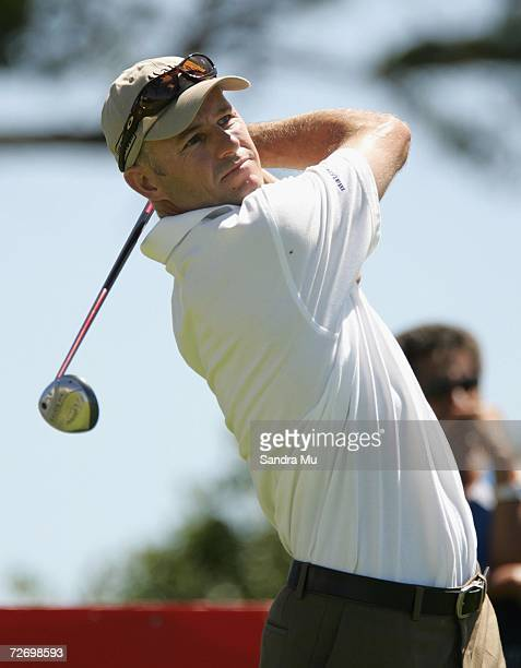Stephen Scahill of New Zealand tees off on the 14th hole during round three of the New Zealand Open at Gulf Harbour Country Club on the Whangaparoa...