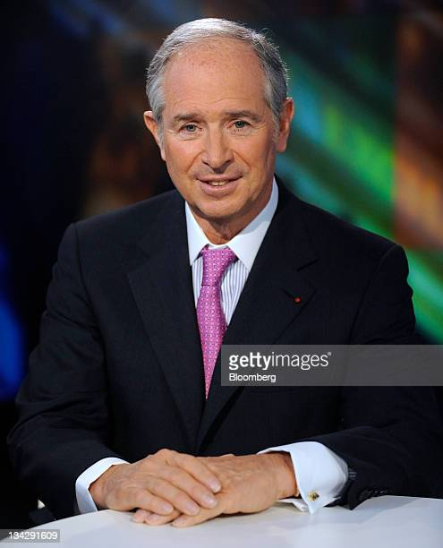 Stephen Schwarzman, chairman and chief executive officer of Blackstone Group LP, sits for a photo prior to a Bloomberg via Getty Images Television...