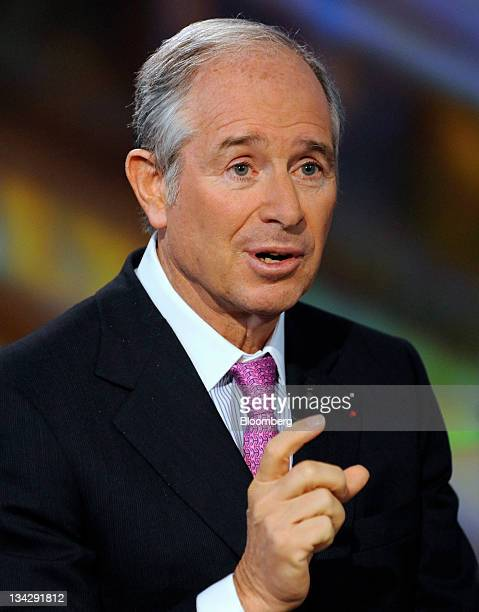 Stephen Schwarzman, chairman and chief executive officer of Blackstone Group LP, speaks during a Bloomberg via Getty Images Television interview in...