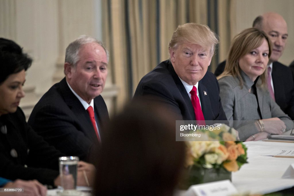 President Trump Participates In Strategic And Policy Forum At The White House : News Photo