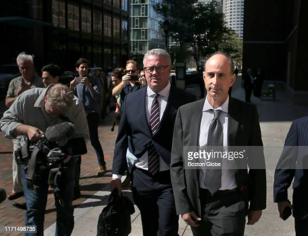Stephen Semprevivo, right, leaves Federal Court with his lawyer Steven Boozang after sentencing in the college bribery scandal at the John Joseph...