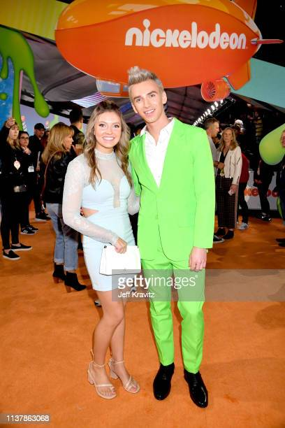 Stephen Sharer and Grace Sharer attend Nickelodeon's 2019 Kids' Choice Awards at Galen Center on March 23 2019 in Los Angeles California