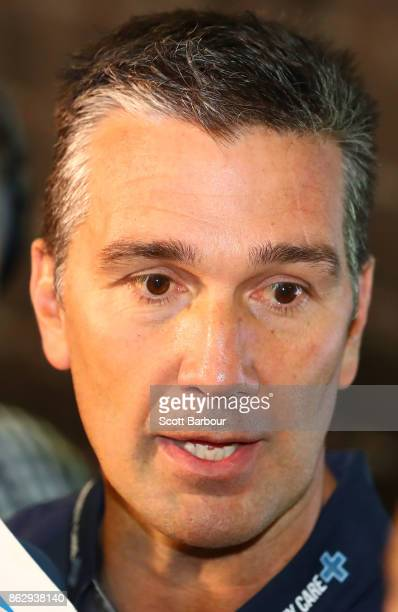 Stephen Silvagni List Manager of the Blues leaves after attending the AFL Draft Period at Etihad Stadium on October 19 2017 in Melbourne Australia
