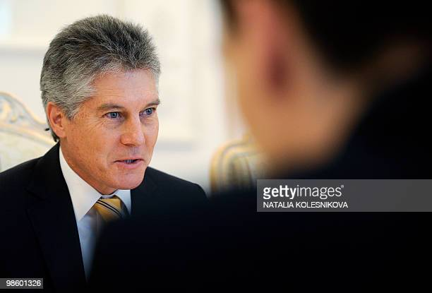 Stephen Smith Australian Foreign Minister speaks with Russian Foreign Minister Sergei Lavrov during their meeting in Moscow on April 22 2010 Smith is...