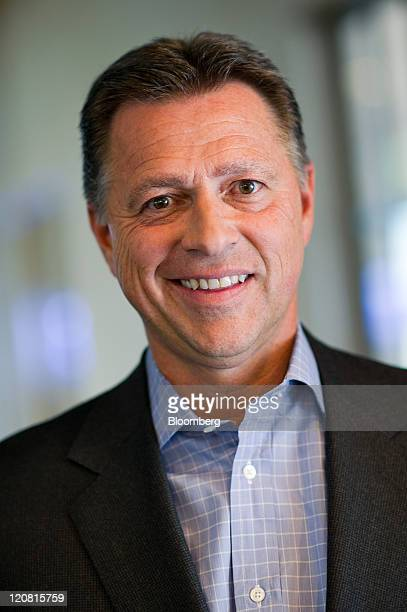 Stephen Smith chairman and chief executive officer of Equinix Inc stands for a photograph after a Bloomberg via Getty Images West television...