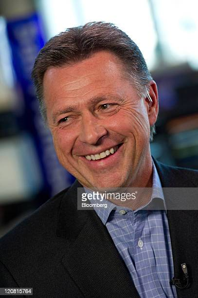 Stephen Smith chairman and chief executive officer of Equinix Inc smiles during a Bloomberg via Getty Images West television interview in San...