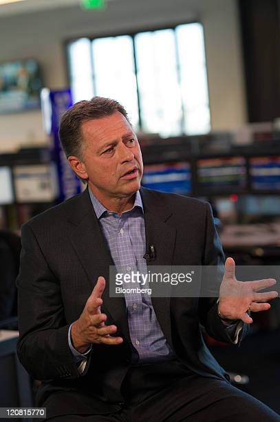 Stephen Smith chairman and chief executive officer of Equinix Inc speaks during a Bloomberg via Getty Images West television interview in San...