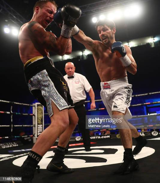Stephen Smith of England in action against Des Newton of England during the Lightweight contest fight during the JD NXTGEN Series at Motorpoint Arena...