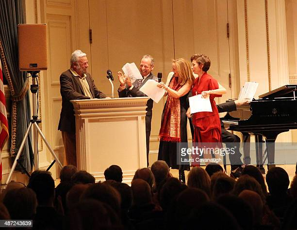 Stephen Sondheim Alexander Bernstein Jamie Bernstein and Nina Bernstein attend the 'Remembering Lenny' A Gala Celebration Of Leonard Bernstein during...