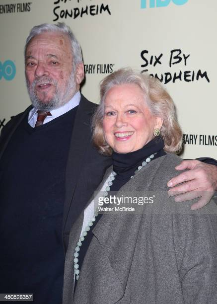 Stephen Sondheim and Barbara Cook attend the Six By Sondheim premiere at the Museum of Modern Art on November 18 2013 in New York City